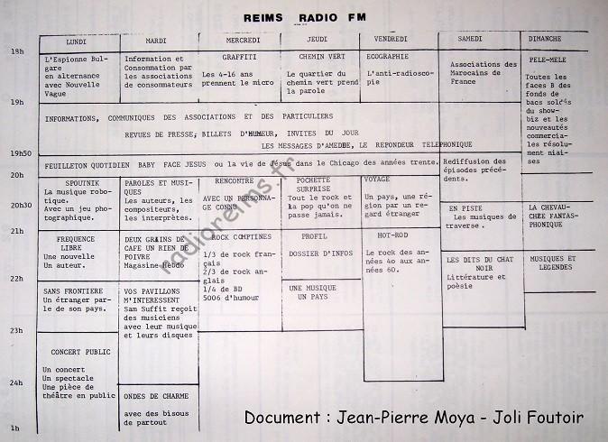 1ère grille Reims Radio FM octobre 81 - doc : Jean Pierre Moya