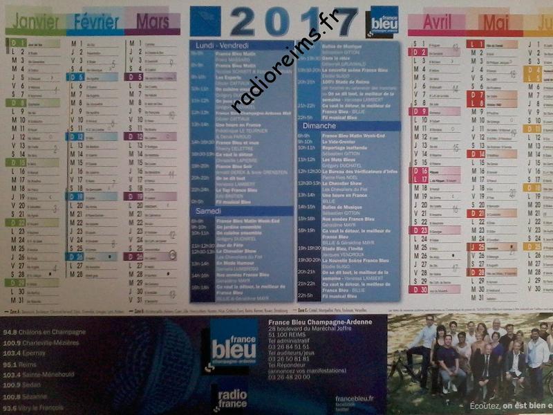 Calendrier France Bleu CA 2017