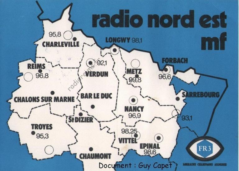 Carte FR3 Radio Nord Est (crédit : Guy Capet)