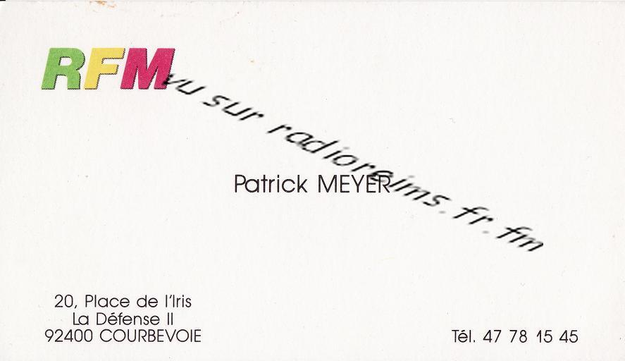 Carte visite Meyer RFM avec logo