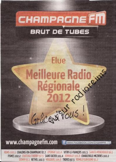 Champagne FM meilleure radio régionale 2012