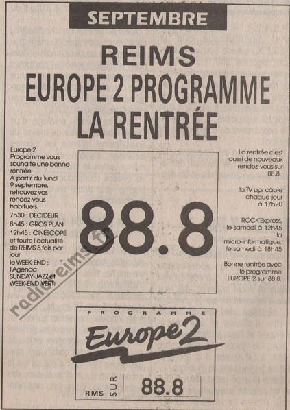 Europe 2 rentrée septembre 1991