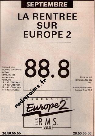 Europe 2 Pub Rentrée Septembre 1992