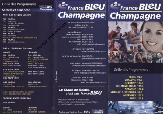 Grille prog 2003 France Bleu Champagne