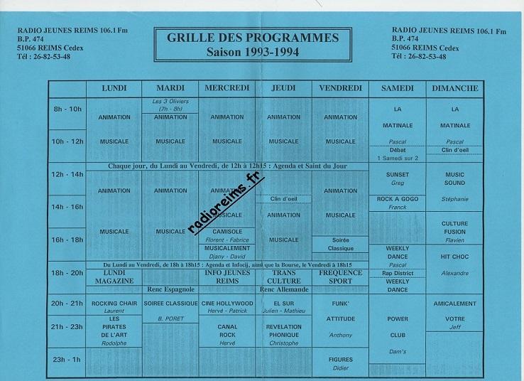 Grille prog RJR 93 94 part 1