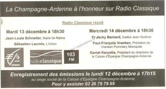 Radio Classique à Reims en décembre 2005
