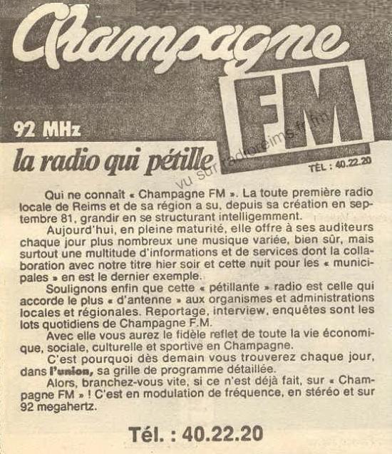 Présentation de Champagne FM