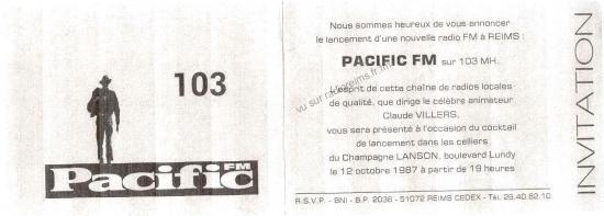 Carton d'invitation pour le lancement de pacific FM à Reims