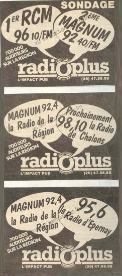 Plusieurs pubs de Radio Plus