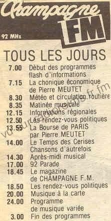 Programmes de Champagne FM