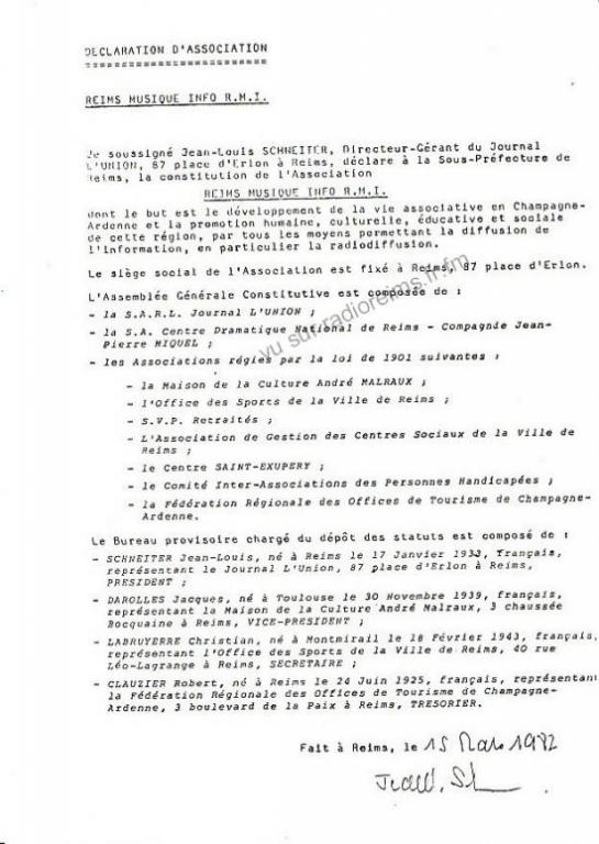 Déclaration de l'association