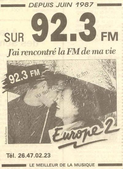 Europe 2 depuis juin 87 (contrairement à celle sur 89.9)