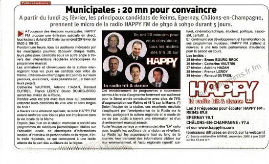 Happy et la campagne des municipales 2008