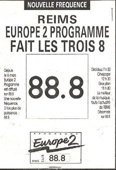 Mars 91 : Europe 2 change de fréquence