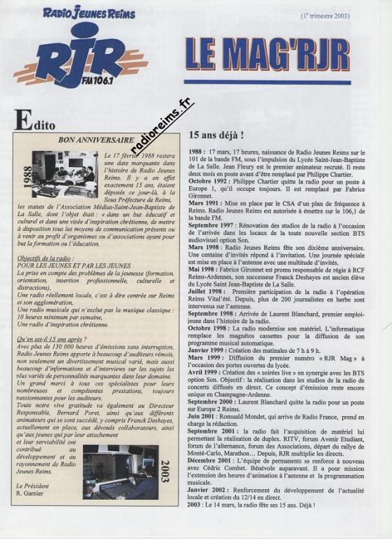 Le Mag RJR 2003 1
