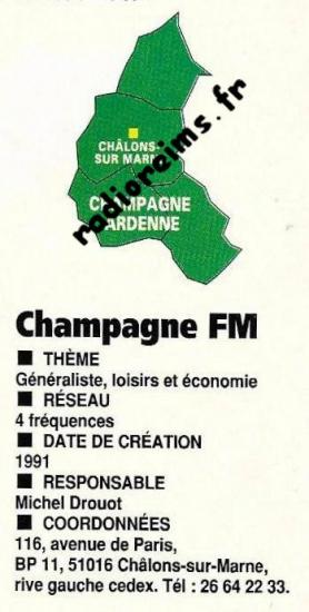 Pub Champ FM Châlons 1991 (Merci à Benoit - affichradio.fr)