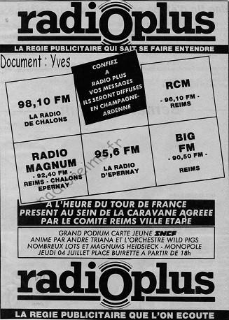 Pub Radio Plus l'Union Tour de France 1985