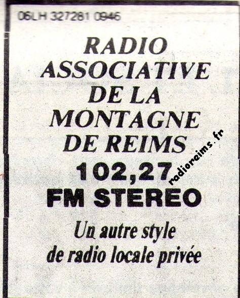 Pub RAMR dans Champagne Dimanche 1985