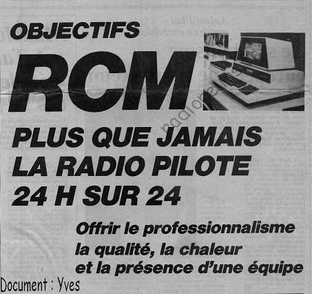 Pub RCM mai 1984 champagne dimanche