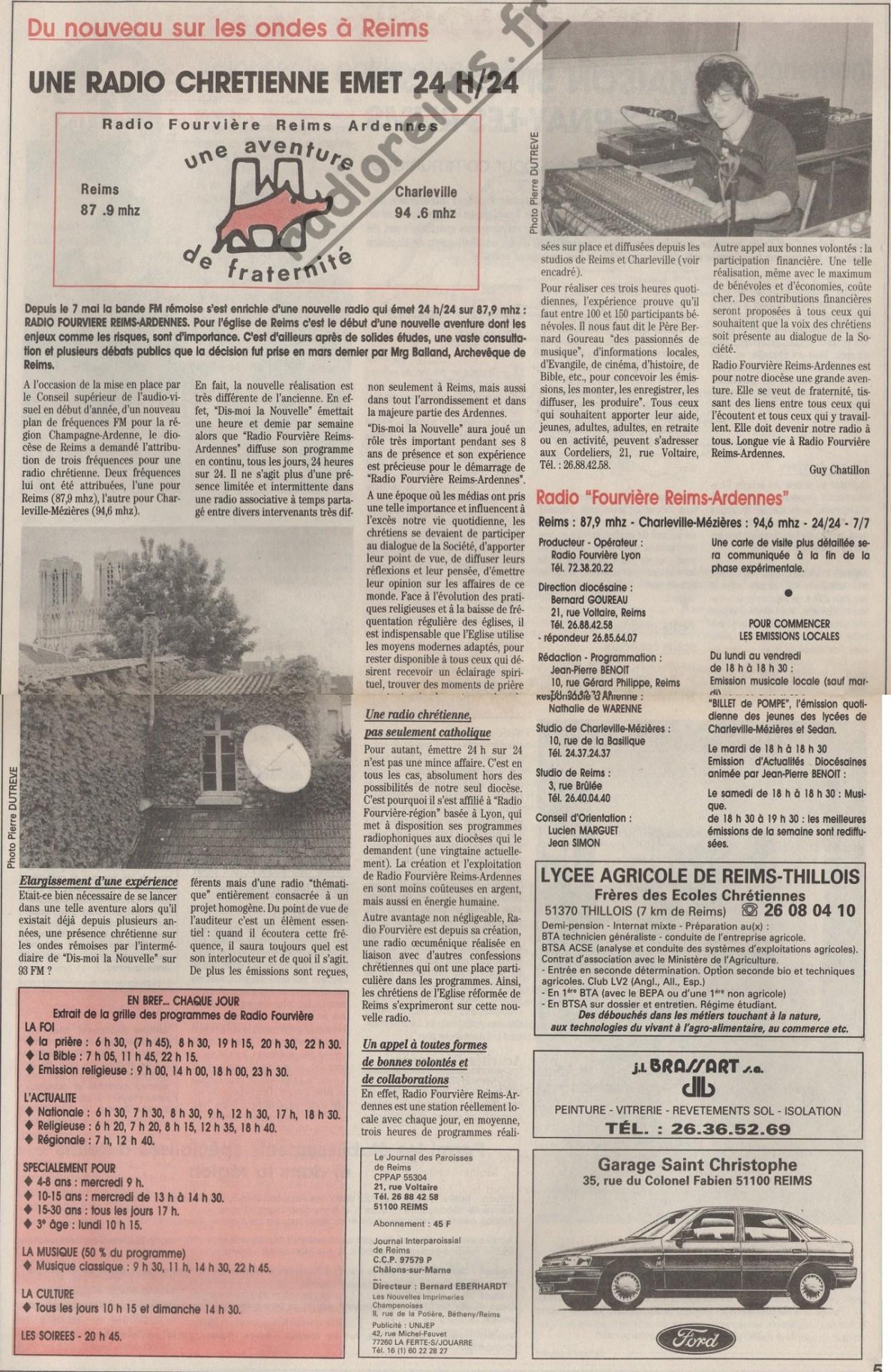 Naissance de Radio Fourvière 1991