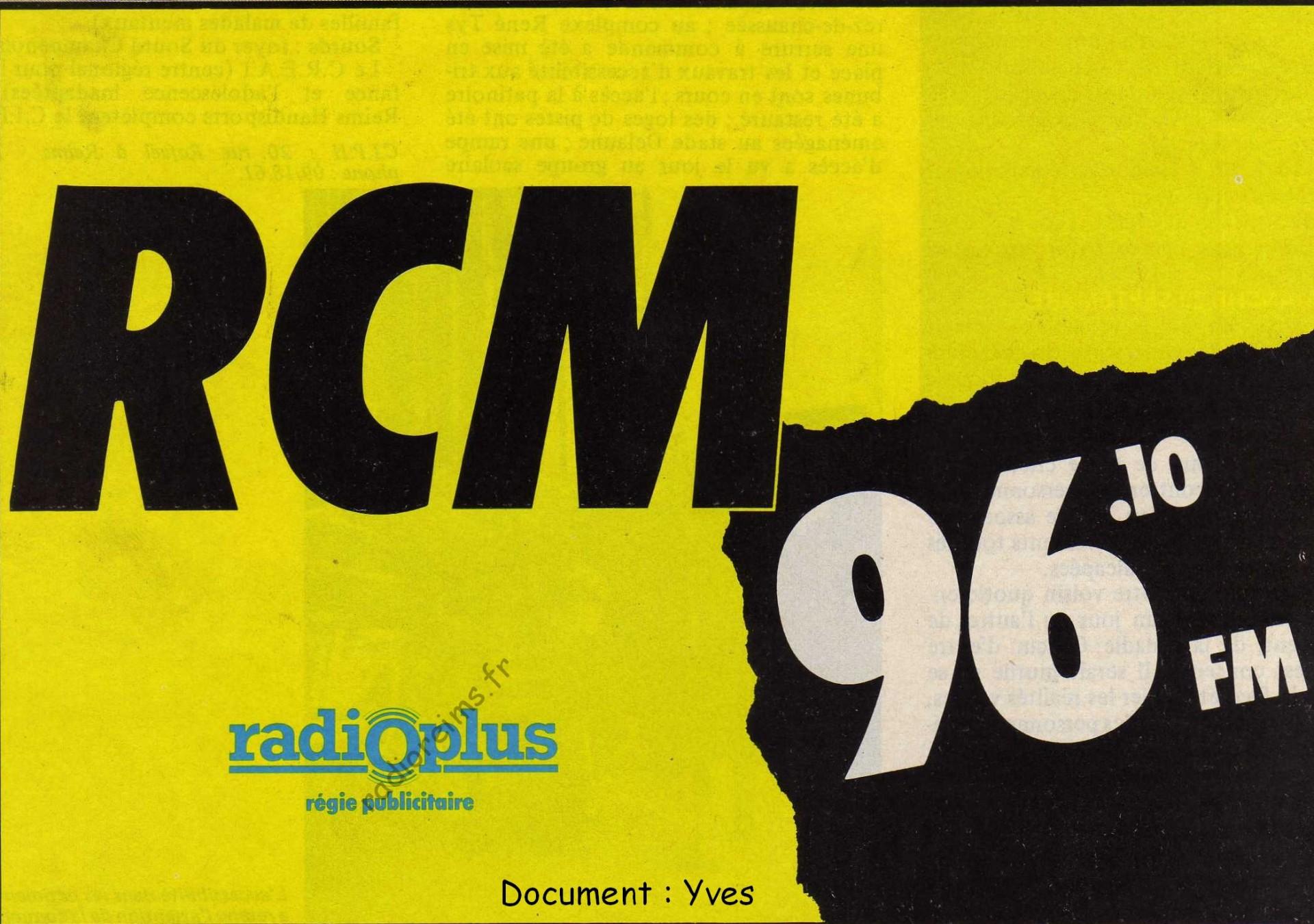 RCM Radio Plus septembre 1985