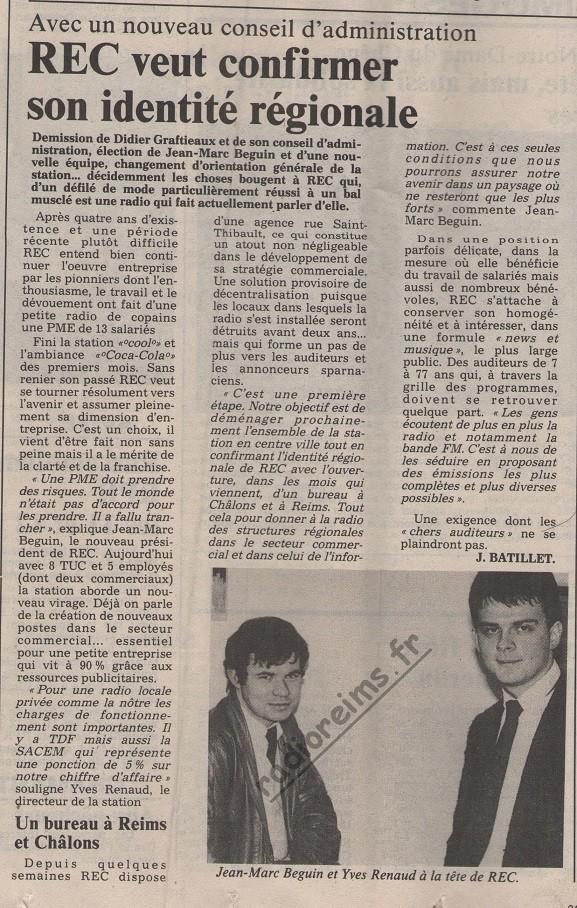 Rec decembre 1985 changement présidence