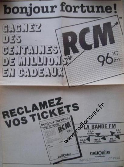 Ticket Bonjour Fortune RCM